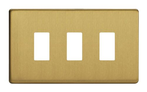 Varilight XDBPGY3S Screwless Brushed Brass 3 Gang PowerGrid Plate (Twin Plate)